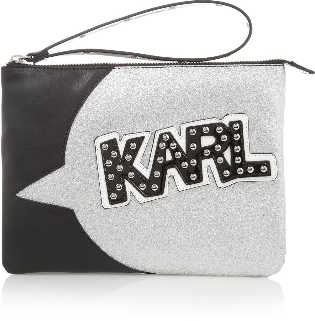 380614_Karl Lagerfeld - + tokidoki faux leather, patent and glitter-finish clutch