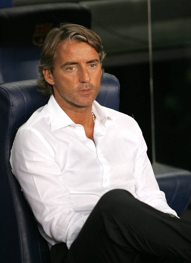 BARCELONA - AUG 29: Soccer manager Roberto Mancini during a friendly  match between FC Barcelona and Inter de Milano at the Nou Camp Stadium on August 29, 2007 in Barcelona, Spain.