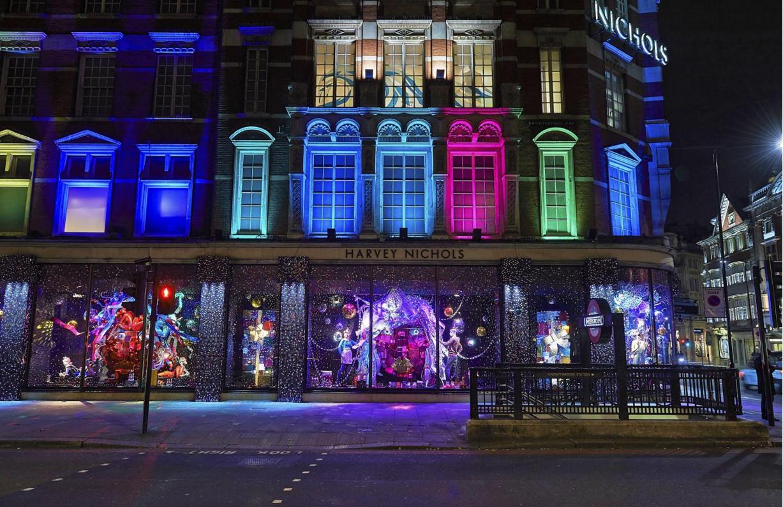 Harvey Nichols luci di Natale Londra