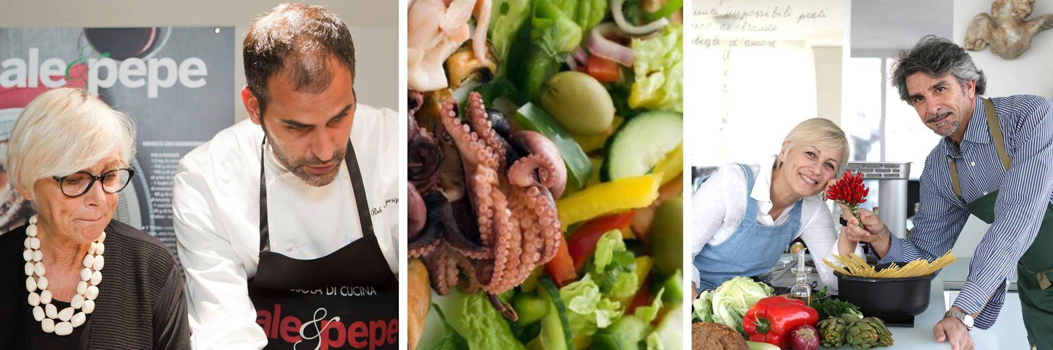 """La dottoressa Carla Lertola con Chef Roberto Maurizio di Sale&Pepe per lo showcooking """"Il benessere in cucina"""" e con il biologo-chef Fiorenzo Frumento. Credits: Starbene (c)"""
